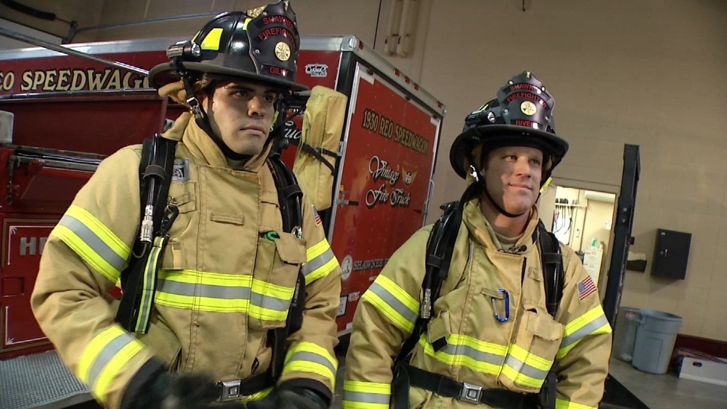 There is nothing easy about the Pittsburgh Drill. Sands invited KCTV5 News anchor Brad Stephens to put on firefighter gear and go through the drill himself to see first-hand what it's like. (KCTV5)