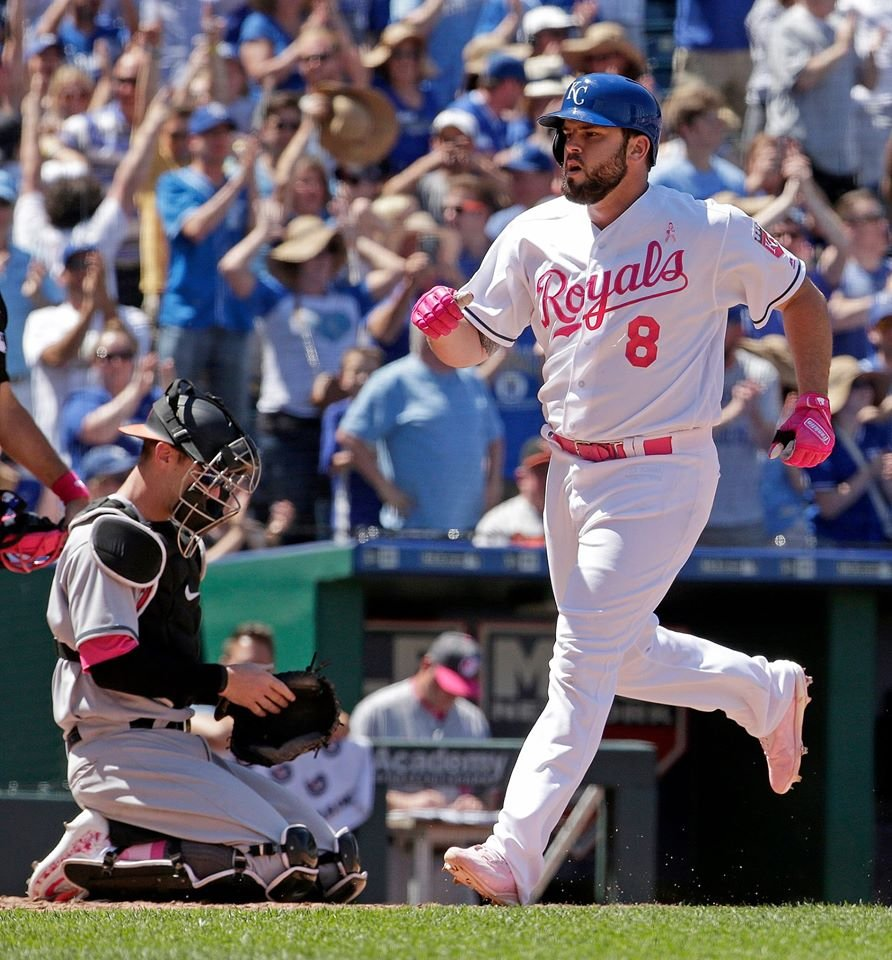 Mike Moustakas homered and drove in four runs to help the Kansas City Royals rally from five runs down to beat the Baltimore Orioles 9-8 Sunday. (AP)