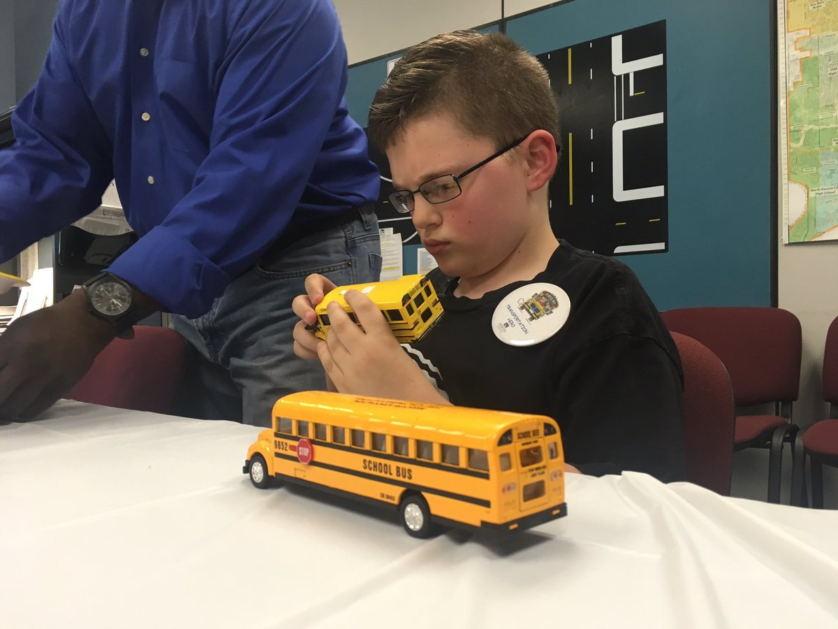 There is a grand total of 159 buses in the North Kansas City School District, and 10-year-old Brandon Hougardy has memorized the name of every driver. (Abigael Jaymes/KCTV5 News)