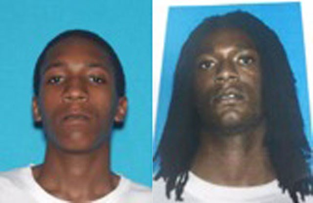 James Osler, right, and Requon Dillard are believed to be at large in the Kansas City area following the shooting and both actively receiving assistance by family and friends. Both men have active Platte County felony warrants. (U.S. Marshals)