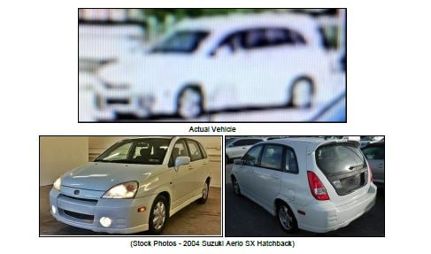The vehicle, according to Kansas City police, is likely a 2003-2006 Suzuki Aerio SX Hatcback with a Missouri license plate number similar to LZWG2X or L2WG2X. (KCPD)