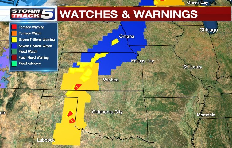 There is a threat of strong thunderstorms with possible tornadoes in the nation's midsection. (KCTV5)