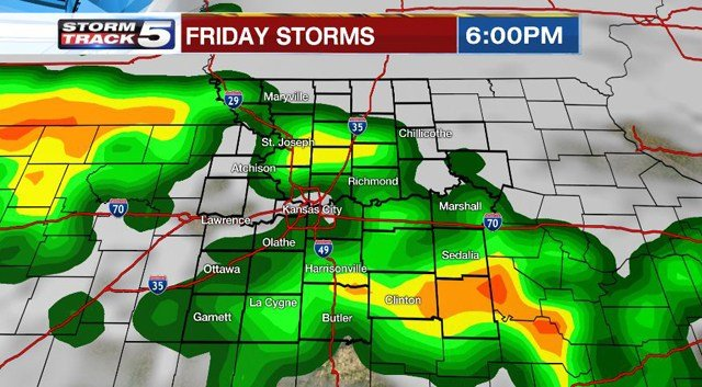 Heavier storms are likely after 3 p.m. on Friday. (KCTV5)