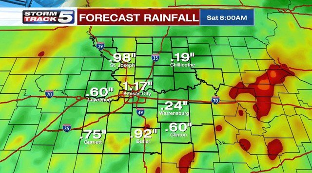 An inch of rain is possible with isolated areas receiving up to two inches. (KCTV5)
