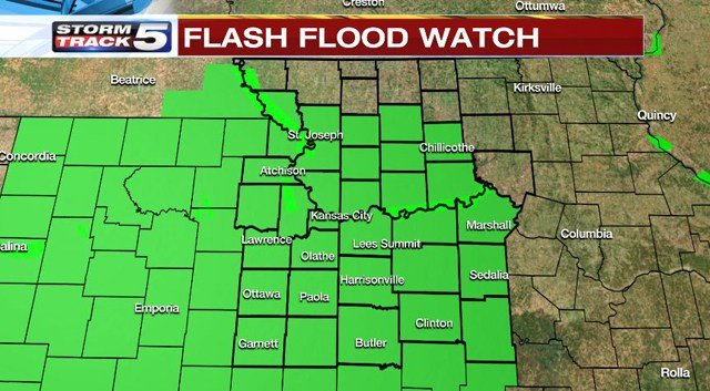 There is a Flash Flood Watch in effect through Saturday morning. (KCTV5)