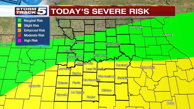 Teachman says there is a slight risk for severe weather in areas south of Interstate 70 during the heat of the afternoon on Friday and through the early evening. (KCTV5)