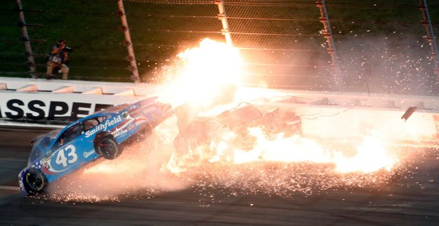 Aric Almirola has been advised he could miss up to three months of the NASCAR season with a fractured vertebra. (AP)