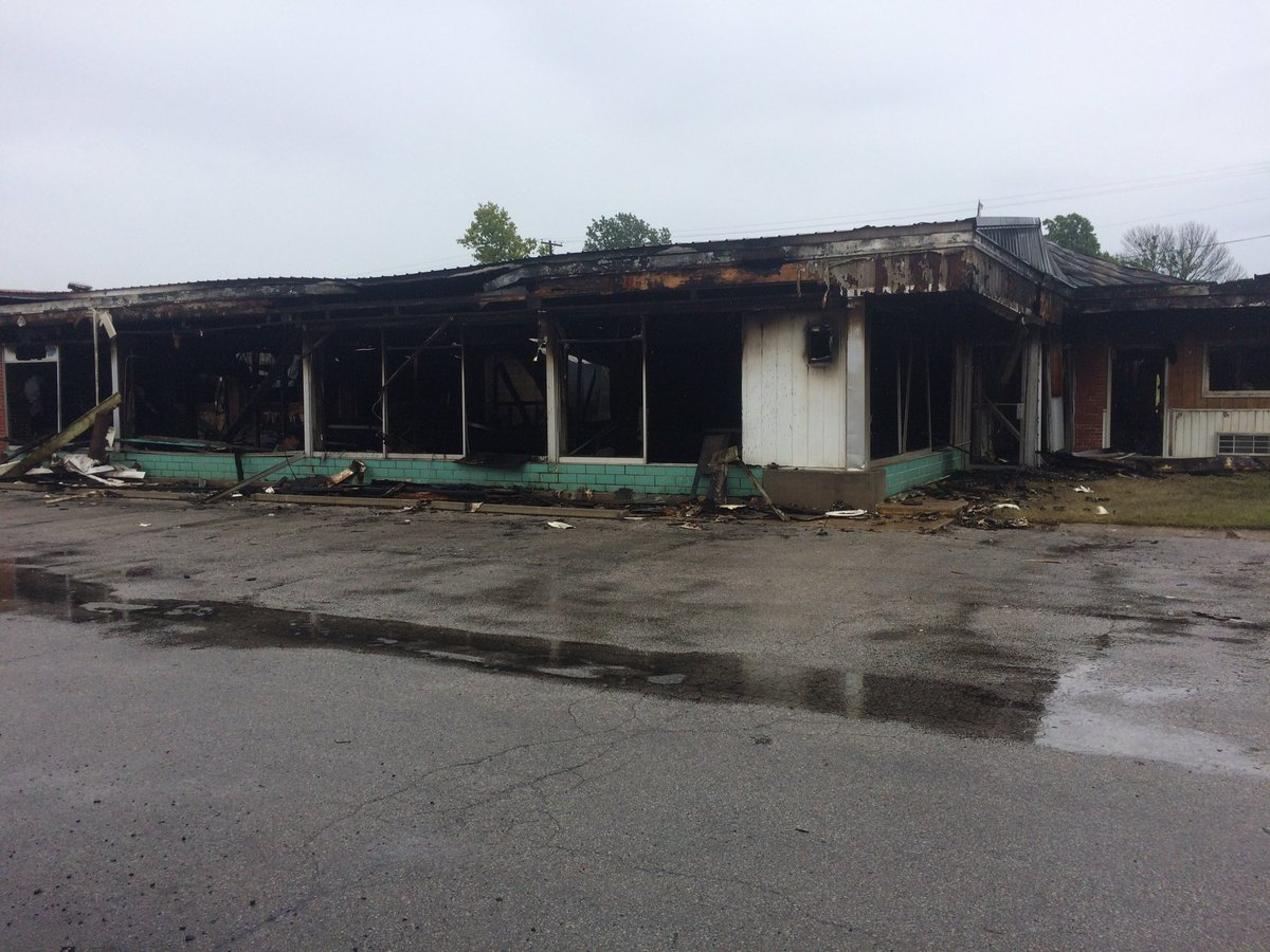 Fire consumed the Lakeview Motor Lodge over the weekend with flames that burned through Saturday night and Sunday morning. (Nathan Vickers/KCTV5 News)