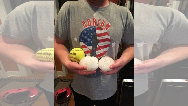 Picture of hailstones from Adrian, MO. (Credit: Kris Saathoff)