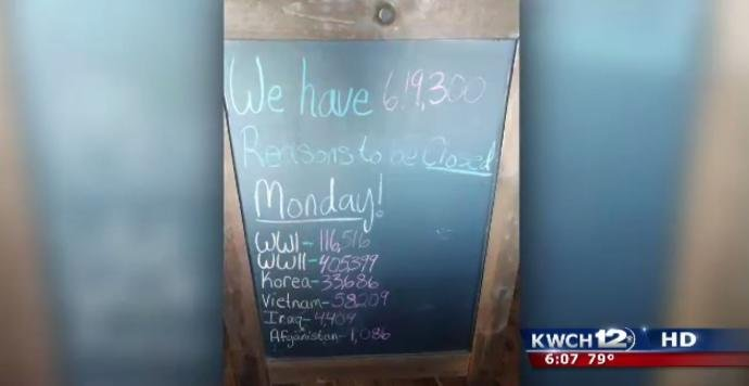 A Memorial Day sign at a restaurant in northern Kansas has gone viral. (KWCH)