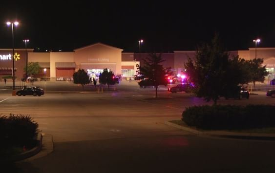 Police have blocked off a scene at the Raytown Walmart located at 10300 East Highway 350. (KCTV5)