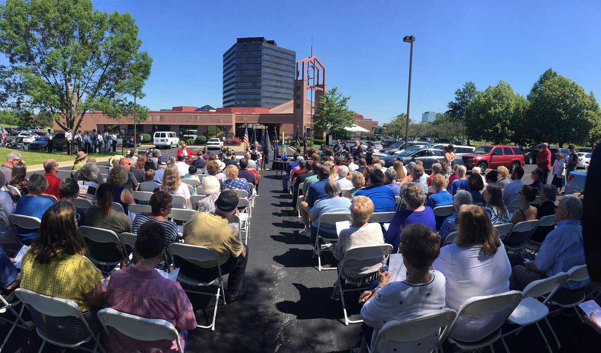 The annual Memorial Day service at the Johnson County Funeral Chapel and Memorial Gardens saluted the sacrifice of fallen heroes on Monday. (Abugael jaymes/KCTV5 News)