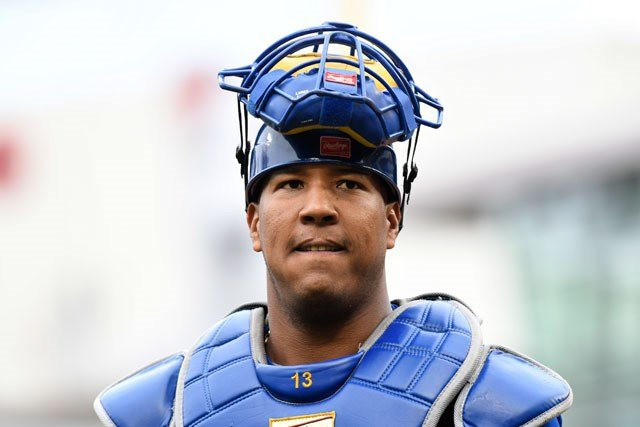 Kansas City Royals' Salvador Perez during the first game of a baseball doubleheader against the Minnesota Twins Sunday, May 21, 2017, in Minneapolis. (AP Photo/Tom Olmscheid)