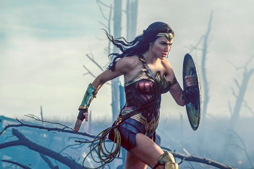 "(Clay Enos/Warner Bros. Entertainment via AP). This image released by Warner Bros. Entertainment shows Gal Gadot in a scene from ""Wonder Woman."""