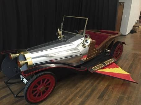 Surveillance video shows the thief driving a trailer off the lot with the Chitty Chitty Bang Bang car inside. They may have been completely unaware of what was inside the trailer when they stole it. (Submitted)