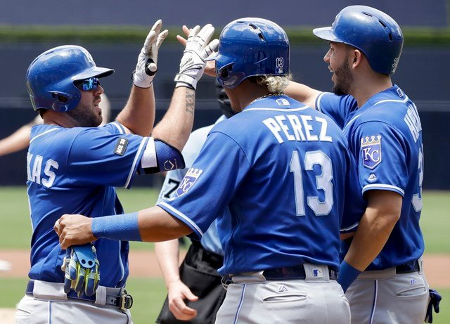 Moustakas hit a three-run home run in the first against rookie Dinelson Lamet (2-2) that gave the Royals an early 4-0 advantage. (AP)