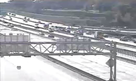 Two people are hurt after a seven-car pile up on Interstate 435 near 69 Highway. (KC Scout)
