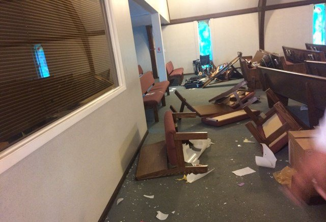 Pastor Bryan Mann says vandals spent hours inside the church, damaging every room. (KCTV5)