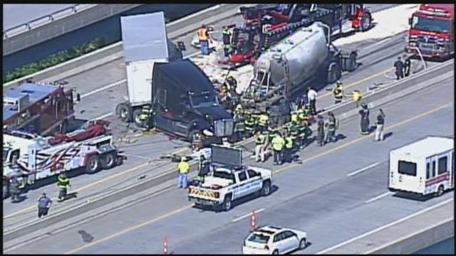 Authorities say two semis were involved in the accident and that one of the trucks was at least partially rolled over. (KCTV5)