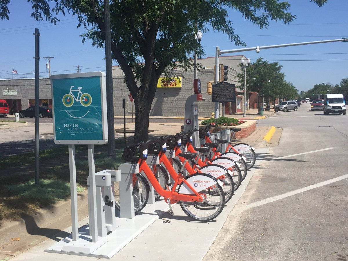 B-Cycle is placing bright orange bikes at several stations north of the river. (Nathan Vickers/KCTV)