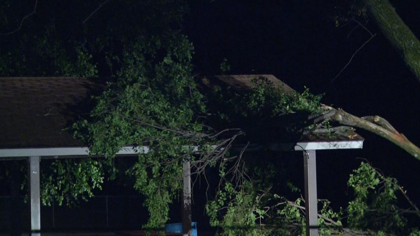 At City Park in Liberty, MO, part of a tree fell on a park shelter, damaging the roof and some of the picnic tables. (KCTV5)