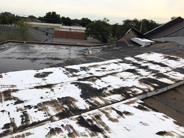 The roof of the building was damaged in the storm, allowing water into the building. (Facebook/Ray County Public Library)
