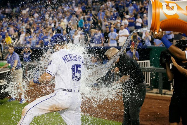 Whit Merrifield drove in the go-ahead run in the seventh inning. (AP)
