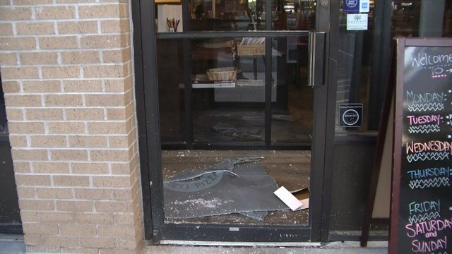 At both scenes, police found that someone had forced their way through the business' main door.  (KCTV5)