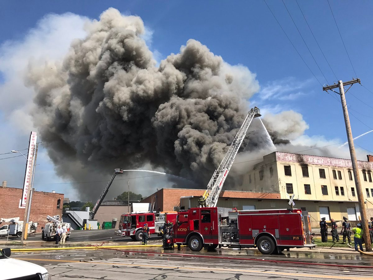 Up to 90 firefighters battled a massive fire at a three-story furniture warehouse in KansasCity. (Jeff Roberts/KCTV5 News)
