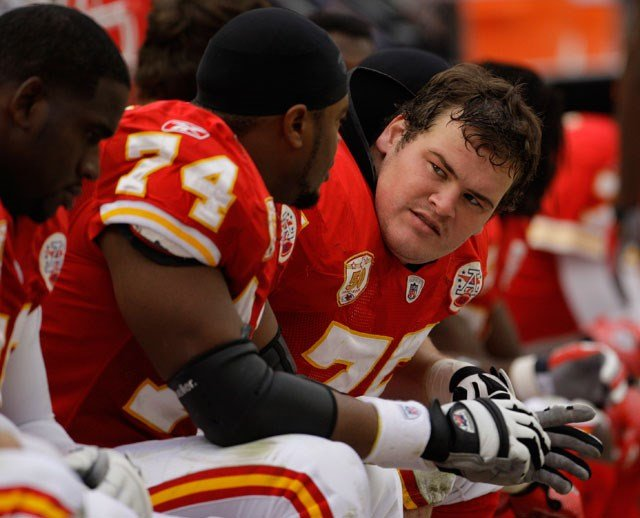 Kansas City Chiefs guard Ryan O'Callaghan, right, sits on the bench with teammates during the third quarter of an NFL football game against the Pittsburgh Steelers Sunday, Nov. 22, 2009 in Kansas City, Mo. The Chiefs won the game 27-24. (AP)
