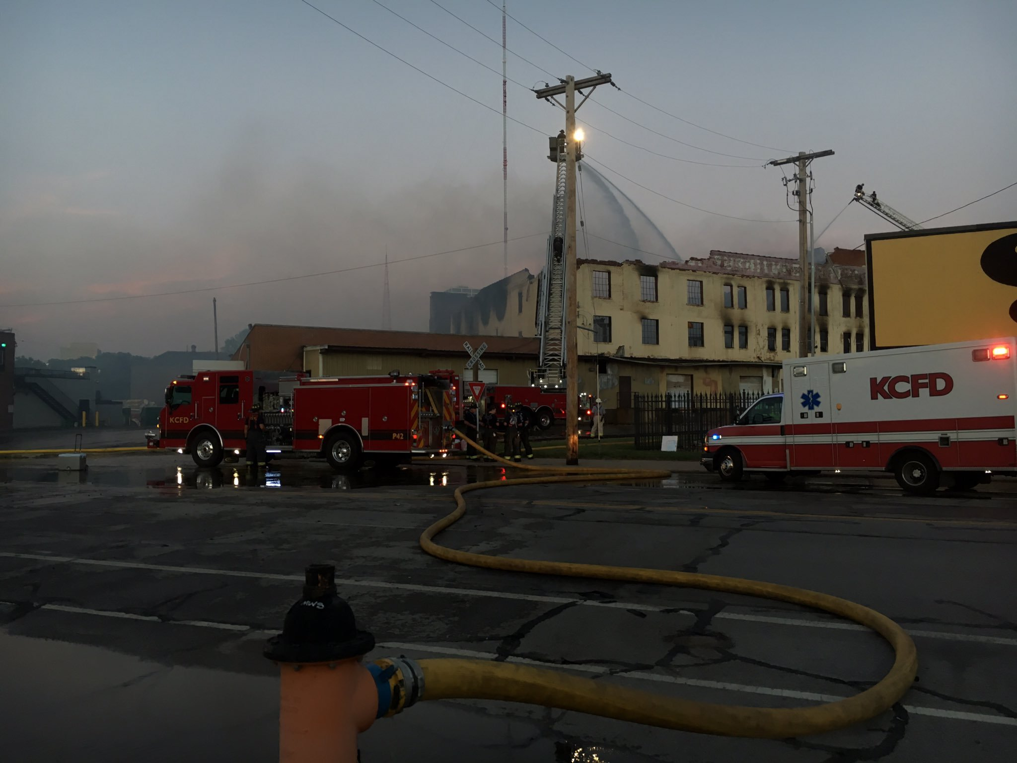 When crews arrived on the scene, dark black smoke billowing from the warehouse at the location of Friday's Only Furniture Outlet.The smoke could be seen miles away. (KCTV5)