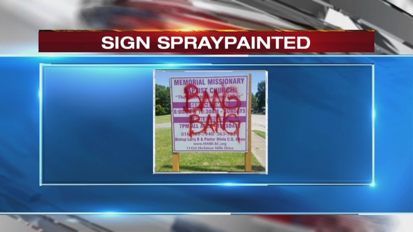 Graffiti was found by security on Memorial Missionary Baptist Church's sign, and it's being taken seriously. (KCTV)
