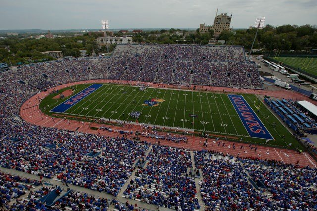 Kansas athletic director Sheahon Zenger says plans to renovate Memorial Stadium and build and indoor training facility are moving forward and will cost around $300 million. (AP)