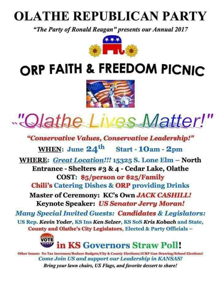 "A GOP leader in a largely white Kansas City suburb says the party ""didn't mean anything"" by promoting a picnic with the slogan ""Olathe Lives Matter!"" and a rainbow font. (Dustin Hare/Twitter)"