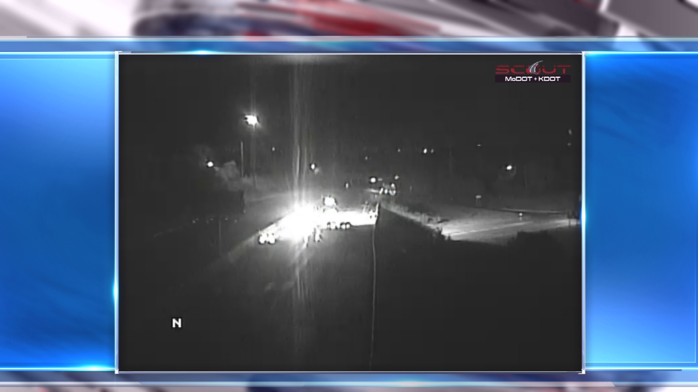The scene of the crash as seen from a Kansas City Scout camera. (KCTV)