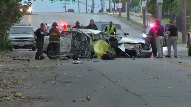 The crash happened about 4:20 a.m. near 33rd Street and Prospect Avenue. (KCTV5)