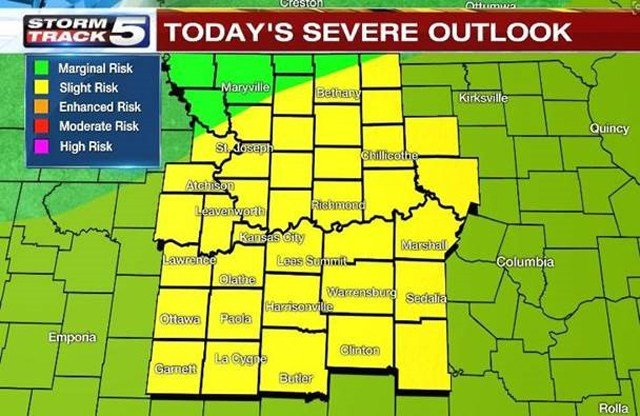 There is a slight severe weather risk for all areas, with large hail, damaging winds and one or two tornadoes possible. (KCTV5)