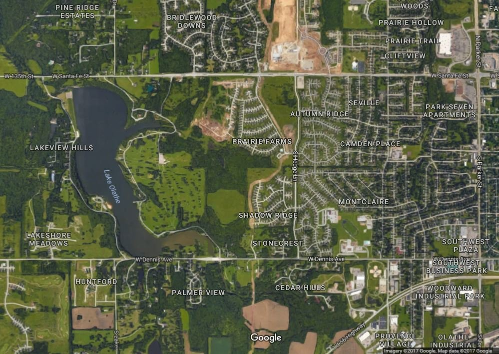 A satellite view of Lake Olathe. (Credit: Google Maps)