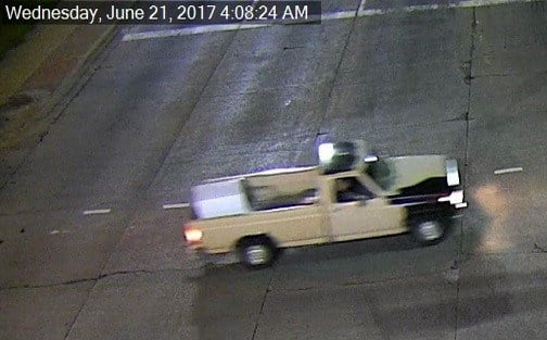 Police are seeking help in identifying a truck involved in a trailer theft. (Olathe Police Department)