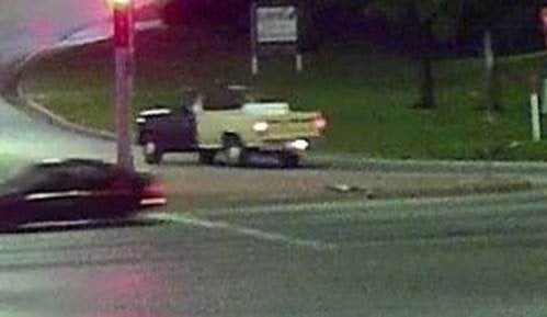 The truck is said to be an early 80s model beige Ford pickup with a dark colored front fender, hood and driver's side door. (Olathe Police Department)