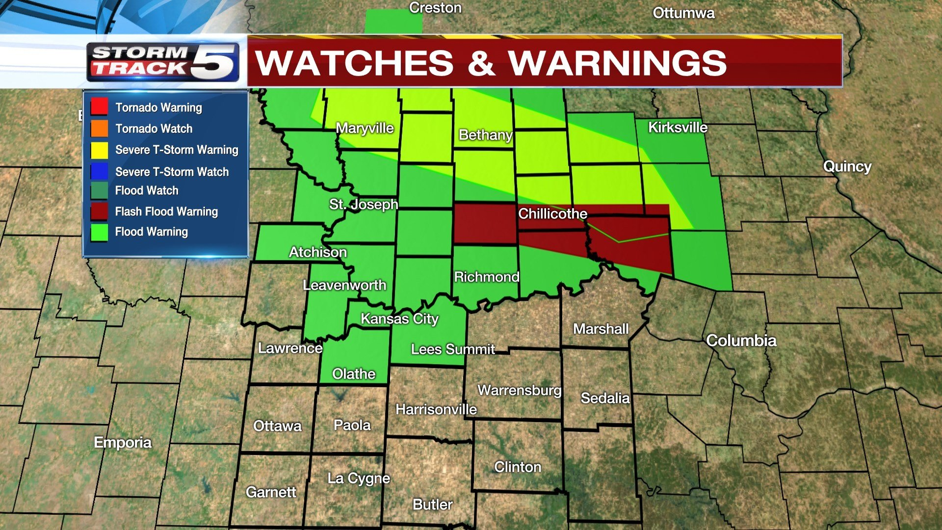 A Flash Flood Warning has been issued for a majority of the Kansas City area. (KCTV5)