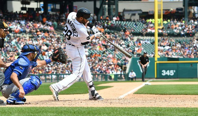 Detroit Tigers' J.D. Martinez connects for an RBI single on the 15th pitch of his at bat in the seventh inning of a baseball game against the Kansas City Royals, Thursday, June 29, 2017, in Detroit. (AP Photo/Lon Horwedel)