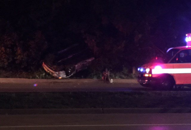 All three people inside the car were able to walk away from the accident. (KCTV5)