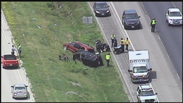 The wreck happened at about 2 p.m. near Tiffany Springs Parkway.  (Chopper5)