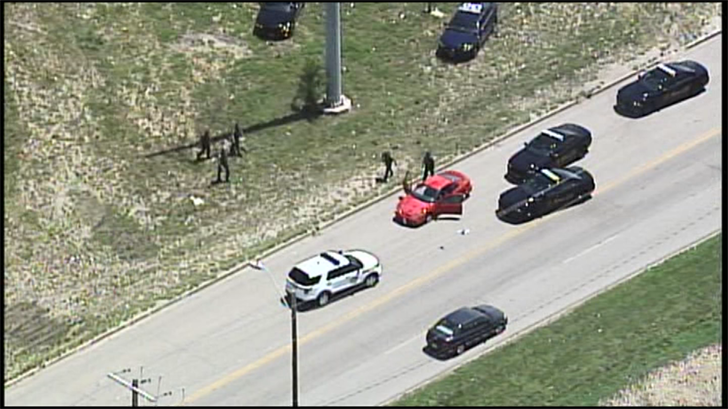 The scene where the pursuit of the car ended. (KCTV)