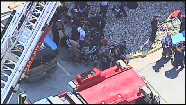 Firefighters tell KCTV5 News that 18 people were trapped in the elevator. (Chopper5)