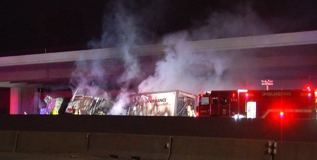 The truck burst into flames about 2:45 a.m. while heading west on Interstate 435 near Quivira Road. (KCTV5)