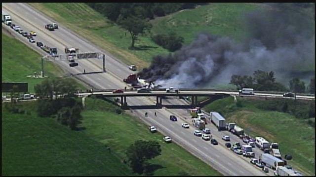 Emergency crews says two tractor trailers crashed, causing the massive fire. (KCTV5)