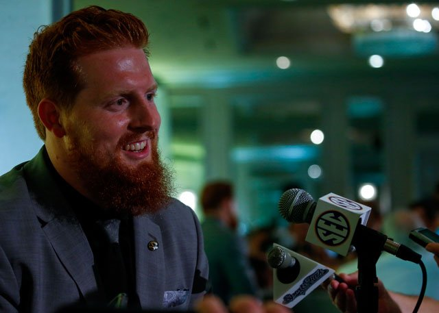 Missouri NCAA college football player Eric Beisel speaks during the Southeastern Conference's annual media gathering, Wednesday, July 12, 2017, in Hoover, Ala. (AP Photo/Butch Dill)