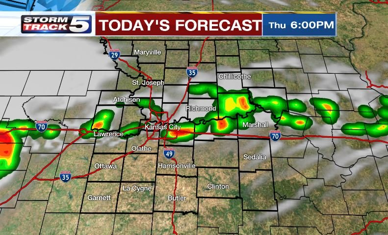 The afternoon brings a mix of clouds and sun with a 50-percent chance of developing showers and thunderstorms into the evening. (KCTV5)